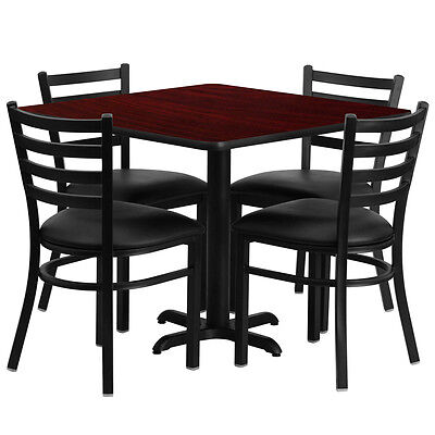 "36"" Square Mahogany Laminate Top Restaurant Table Set with 4 Chairs Black Vinyl"