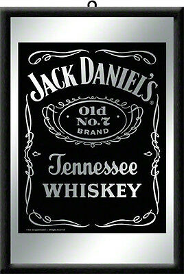 Framed Bar Mirror - JACK DANIELS Traditional B/W Logo image 20 x 30cm in box