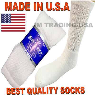 Best quality 3 pair of mens white Diabetic crew socks 13-15 sz ( MADE IN USA )