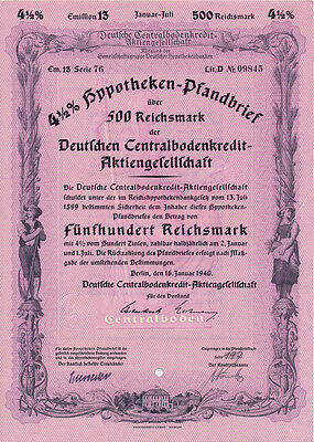 Berlin Deutsche Centralbodenkredit-AG Pfandbrief 500 RM 1940