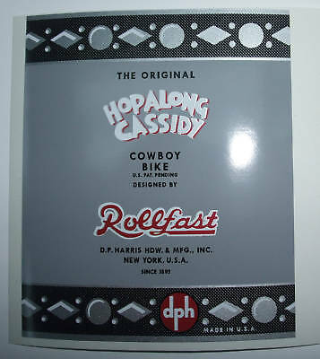HopaLong Cassidy  bicycle seat mast decal