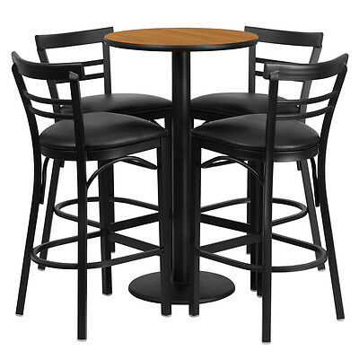 """24"""" Round Natural Laminate Top Bar Height Restaurant Table Set with 4 Barstools"""