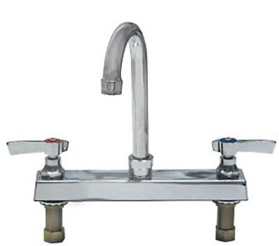 "Top-Line Deck Mount Faucet w/ 8"" Centers and 3-1/2"" Swivel Gooseneck Spout"