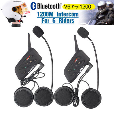 2 Intercomunicador Interphone Bluetooth Auriculares Interfono para Moto V6-1200M