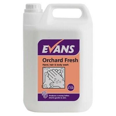 5 Ltr Evans Vanodine Orchard Fresh liquid hand soap body wash shampoo shower