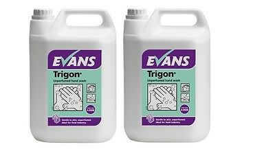 2 x 5 Ltr Evans Vanodine Trigon unperfumed hand wash liquid soap kitchens food