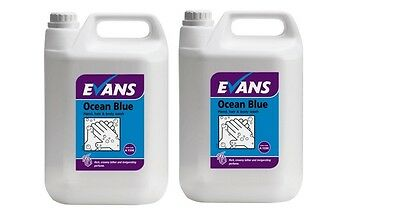 2 x 5 Ltr Evans Vanodine Ocean Blue liquid hand soap body wash shampoo