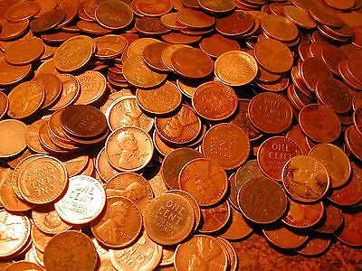 LINCOLN WHEAT CENT ROLL 50 mixed PDS coins, below 1940, all below good