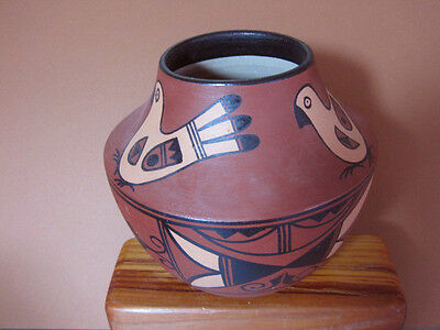 Handpainted, Southwestern Design Quail, Mexican Rusty Red Clay Pot  7 1/2 inch