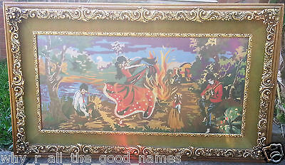 Old Vintage TAPESTRY in Gilt FRAME Hand Made - Large 1195mm x 755mm Exc. Cond.