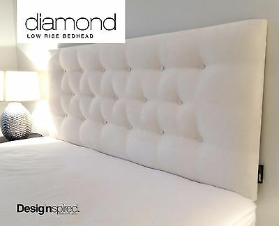 DIAMOND LOW RISE Upholstered Bedhead Headboard for Double Size Ensemble -VANILLA