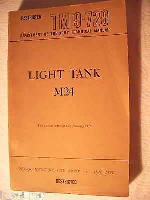 ✪Restricted Department ARMY Technical Manual LIGHT TANK M24  TM9-729 May 1951 !!