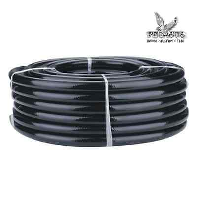 Black Braided Flexible PVC Hose Pipe for Water Air Oil & Gases Reinforced Garden