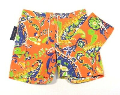 1bf8396595 Ralph Lauren Orange Floral Swim Trunks Boardshorts with Carry Bag Mens NWT  $165