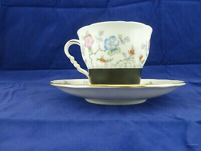 Royal Stafford Bone China Made in England Tea Cup and Saucer Black & Flowered