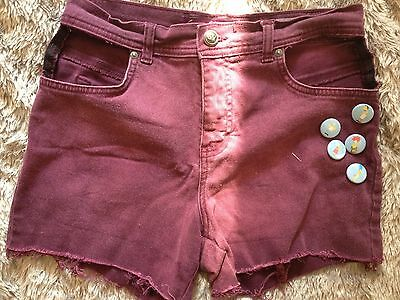 Vintage Maroon High-waisted Pee-a-boo shorts
