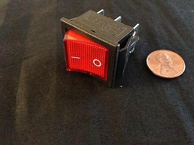 Snap in On/Off Rocker Switch 6 Pin 12v DPDT Red Indicator push b14
