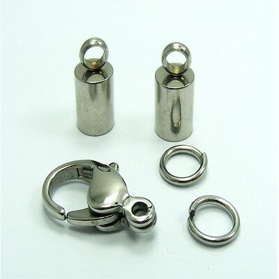 High Quality STAINLESS STEEL Lobster CLASP + END CAPS Kit for 2/ 3/ 4/ 5MM Cord