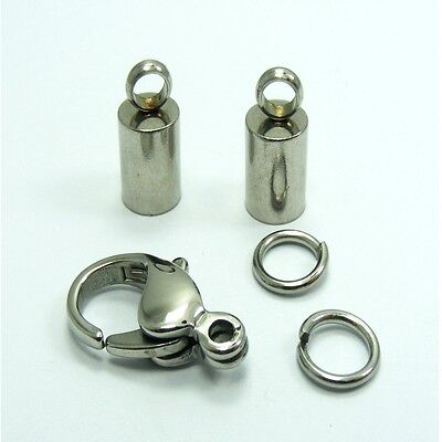 High Quality STAINLESS STEEL Lobster CLASP with END CAPS Kit for 2mm ~ 5mm Cord