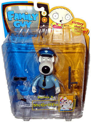 Family Guy Brian as McGriffin Dog Cop Action Figure Series 5 MIB Mezco RARE Toy