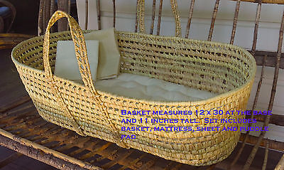ORGANIC Moses Basket  Baby Mattress Set Cotton Eco-Wool Hemp Hand Made USA New