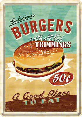 Retro Tin Metal Postcard 'Delicious BURGERS' Mini Sign 10 x 14cm Americana