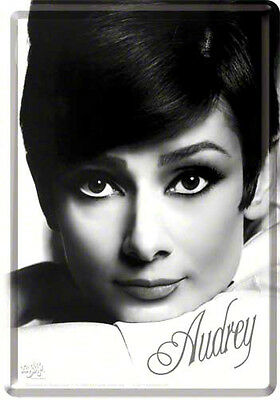 Retro Tin Metal Postcard 'AUDREY HEPBURN' Mini Sign 10 x 14cm B/W Portrait Print