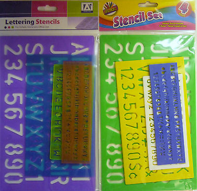Transparent or Solid Coloured 4 Size Stencil Set (Numbers, Letters, Symbols)