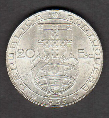 "PORTUGAL 1953 SILVER 20.00 ESCUDOS ""25th ANNIVERSARY OF FINANCIAL REFORM"""