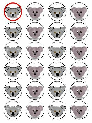 X24 Cartoon Koala Bear Face Cup Cake Toppers Decorations On Edible Rice Paper