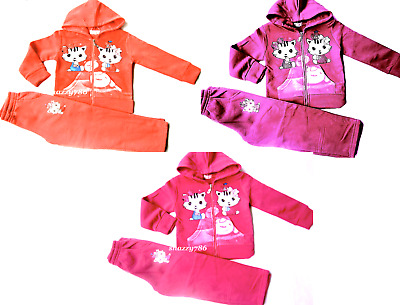Girls KITTY Tracksuit  Hoodie Zip Sweat Top+Trouser Outfit Set,4,6,8,10,12 YEARS