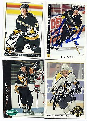 1992 Parkhurst Troy Loney Pittsburgh Penguins Signed Autographed Hockey Card 352