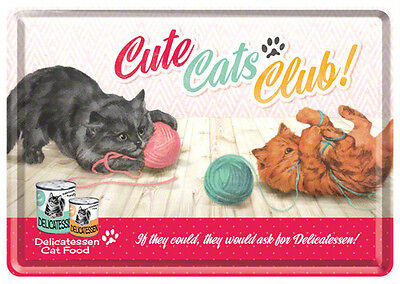 Retro Tin Metal Postcard 'CUTE CATS CLUB' Mini Sign 10 x 14cm 1950's Americana