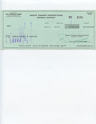 "Popular Deceased Comedian, Actor, And Producer ""Danny Thomas"" Signed Check"