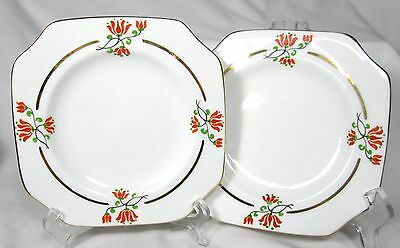 2 VINTAGE CARLTON CHINA CIRCA 1930 SQUARE 6 INCH PLATES BONE CHINA