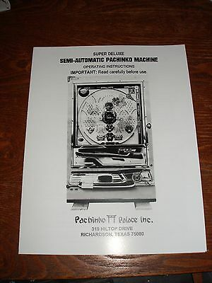 Super Deluxe pachinko machine operating Instructions- Large Format