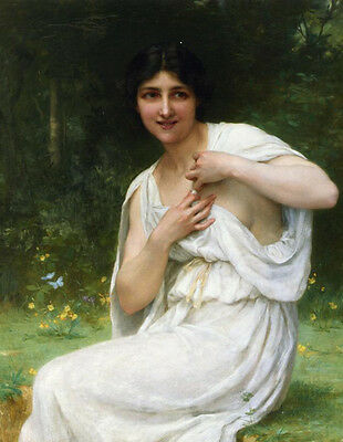 Art Oil painting Guillaume Seignac Preparing for the Bath - Young lady in forest