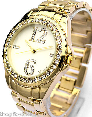 Ladies Womens Henley Sparkly Crystal Diamante Numbers Bracelet Watch, Gold Tone