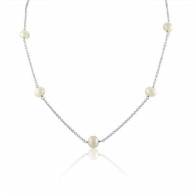 """Elegant Breathtaking Genuine Freshwater Pearl Tin Cup Chain 18"""" Necklace"""