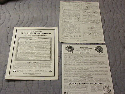 owners manual western international amf riding mower model 3189-0900 & 5289-5500