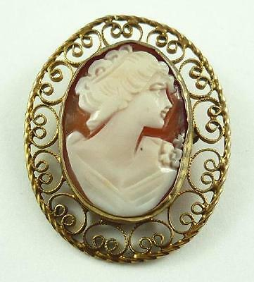 Vintage 12K Gold-Filled Carved Shell Cameo Pendant and/or Brooch - Young Woman