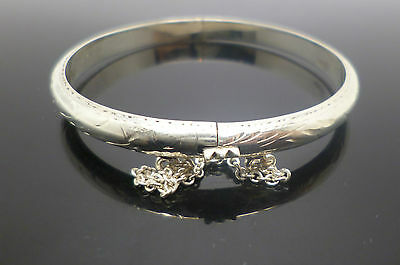 Sterling silver children's engraved baby bangle stamped 925 with safety chain