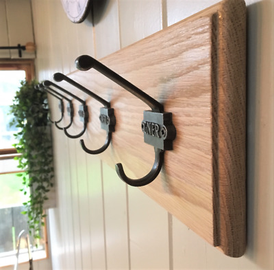 Vintage Style Coat Rack Cast Iron GNER Double Railway Hooks Solid Oak Wood