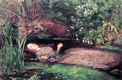 """Oil painting J. W. Waterhouse - Female portrait Ophelia on the river canvas 36"""""""