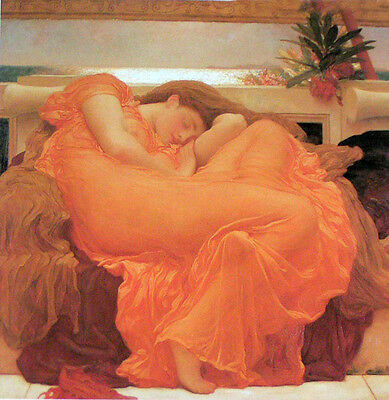 Fine Oil painting Frederic Leighton - Flaming June nice young lady in yellow