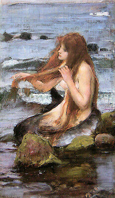 """Oil painting J. W. Waterhouse - Beautiful young girl - Sketch for A Mermaid 36"""""""