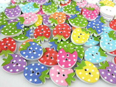 Free Shipping 100PCS Mixed Strawberry Pattern Painting Wood Buttons 12 x 16mm