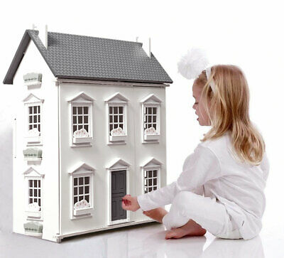 Wooden Kids Doll House With 17PCS Furnitures 3 storey Barbie Dollhouse - Cottage