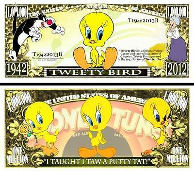 TITI et GROSMINET BILLET MILLION DOLLAR US! Collection Dessin Animé Tweety Bird