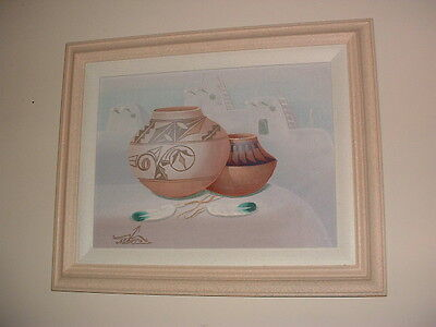 Navajo Pottery Painting By Listed Korean Artist Myung Mario Jung